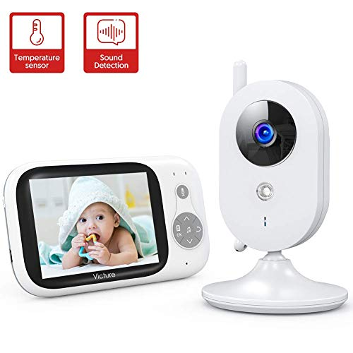 "Victure Baby Monitor,Video Baby Monitor with Camera and 2 Way Audio,Infrared Night Vision 3.2"" LCD Screen 2.4GHz Wireless Transmission Temperature Sensor Auto Wake-up VOX Mode 8 Lullabies Long Range Monitors"