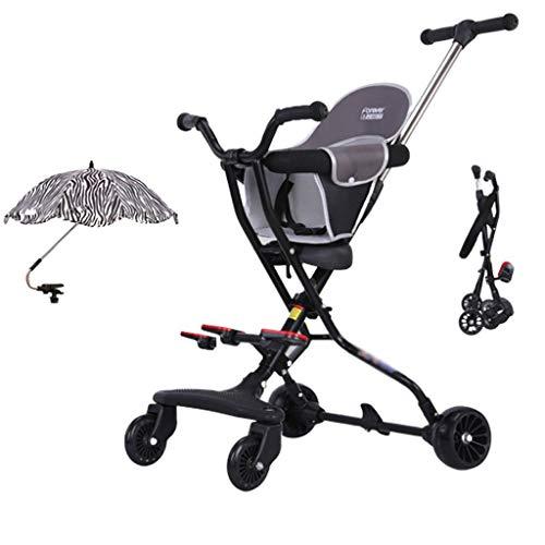 Jixi Cochecito De Bebé De 1 A 5 Años Triciclo De Niño Ligero Carrito Plegable Cojín Y Cinturón De Seguridad Ajustables Carrito De Bebé (Color : Black)