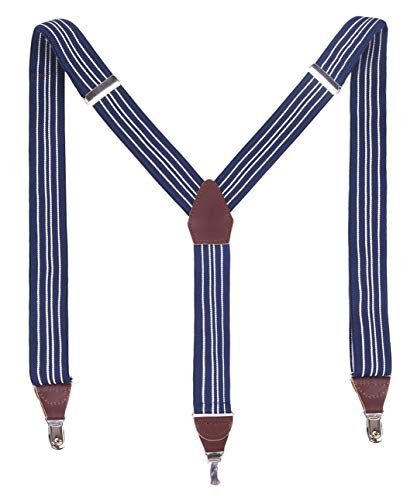 MASSI MORINO tirantes para hombre de cuero auténtico, tiras ajustables de piel auténtica en forma de Y clásica con clips extra fuertes, incl. caja de regalo noble (Azul - Blanco)