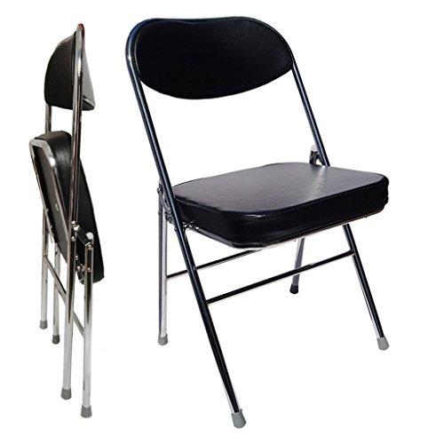 Chi Cheng Fang Electronic business Chaise de Bureau en Cuir Pliable Chaise Portable Haut Dossier Chaise de conférence Simple Chaise de conférence Chaise d'ordinateur dortoir étudiant (Color : Black)