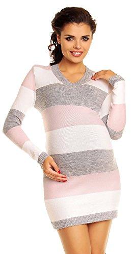Zeta Ville Damen Umstands Blockfarben Strickkleid Streifen Pulloverkleid - 405c (Babyrosa, 36-40, ONE Size)