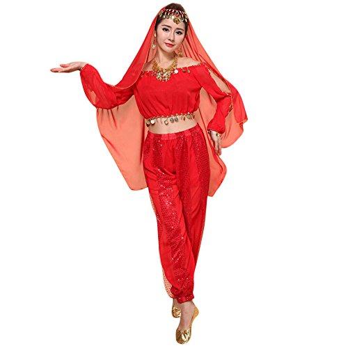 Lazzboy Kostüme Womens New Bauchtanz Set Indian Dance Dress Kleidung Top Hosen(M,Rot)