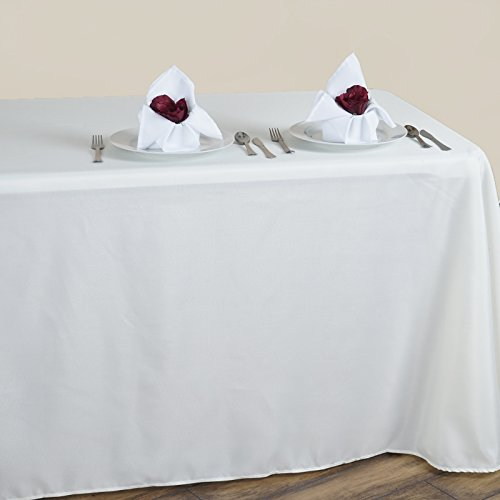 LinenTablecloth 90 x 132-Inch Rectangular Polyester Tablecloth Ivory