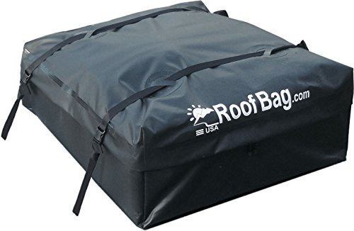 RoofBag Rooftop Cargo Carrier Waterproof | Made in USA | 1 Year Warranty | For Cars With Side Rails, Cross Bars or Basket | Includes Heavy Duty Straps