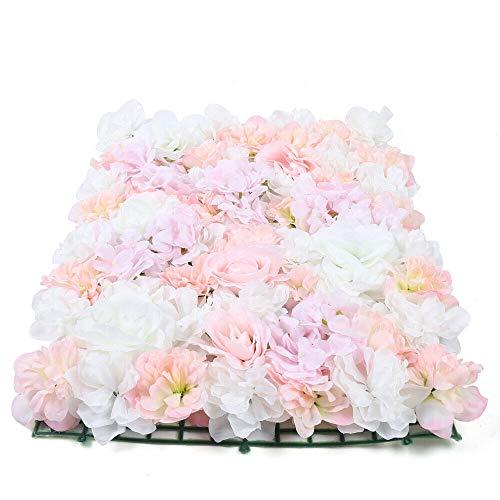 20 Stück Blumenwand Kunstblumen Wandpaneele Künstliche Blumen Deko Wand, Romantischem Blumen-Hintergrund für Hochzeitsdeko Garten Dekor, 60 x 40 cm