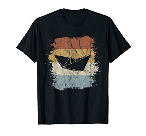 Faltboot Kapitän Retro Nordsee Ostsee Papier-Schiff T-Shirt