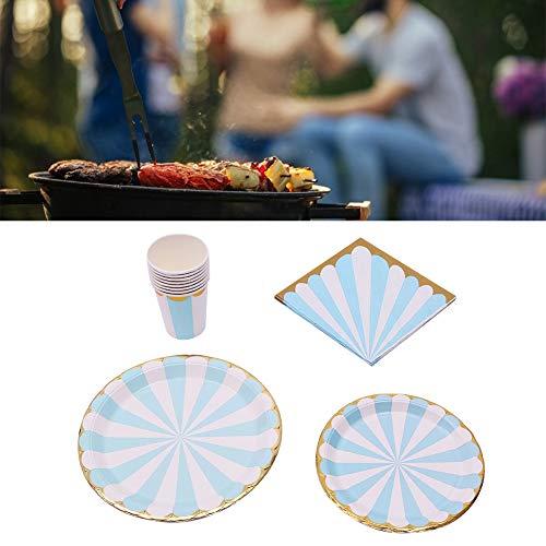 Juego de suministros para fiestas, vajilla portátil sin lavado azul para fiesta infantil, boda, fiesta de cumpleaños(Plum blue)
