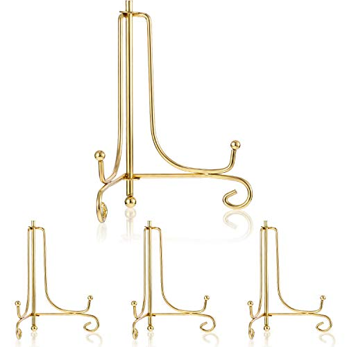 Tatuo 4 Packs Iron Display Stand, Iron Easel Plate Display, Photo Holder Stand for Home Decoration (Gold, 6 Inch)
