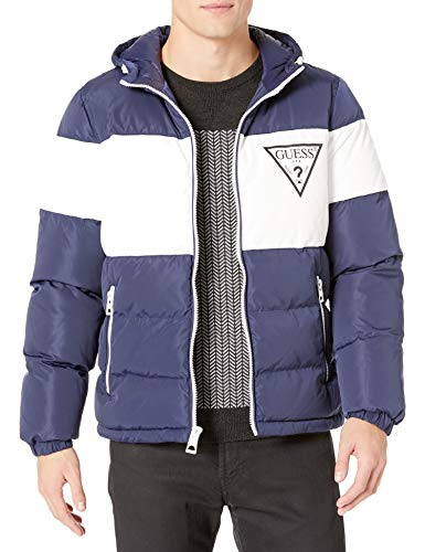 GUESS Men's Color Block Hooded Puffer Jacket, Navy, X-Large