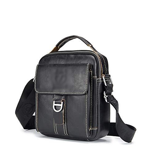 Confortable Messenger Bag for Men Cuir Casual Mode Sac à bandoulière Élégant (Couleur : Noir)