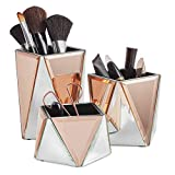 <span class='highlight'>Beautify</span> <span class='highlight'>Set</span> <span class='highlight'>of</span> 3 Mirrored Makeup <span class='highlight'>Storage</span> Organiser Pots – Silver & Rose Gold Cosmetic Brush Holders – Geometric Design – Table Top Tidy