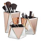 Beautify 3er Set Make-up Organizer - Set aus 3 verspiegelten Töpfen - Silber & Roségold - Geometrisches Design – Schminktisch Aufbewahrung/Aufgeräumter Tisch/Schminkbehälter