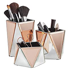 Rose Gold Geometric Design  Makeup Storage Pots