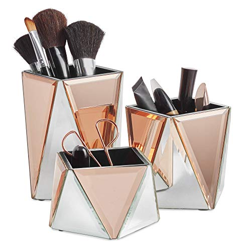 Beautify 3er Set Make-up Organizer - Set aus 3 verspiegelten Töpfen - Silber & Roségold - Geometrisches Design – Schminktisch Aufbewahrung/Aufgeräumter Tisch/Schminkbehälter