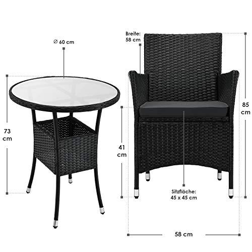 ArtLife Polyrattan Balkon Set Bayamo 2 Personen – Tisch mit Glasplatte & 2 Stühlen – Wetterfeste Balkonmöbel – Auflagen waschbar – schwarz - grau - 3