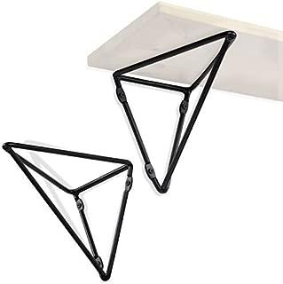 Wallniture Prismo Multipurpose Wall Mount Geometric Brackets for Floating Shelf - DIY Shelving Triangle Design - Iron Set of 2