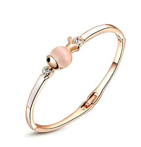 AnazoZ Fashion Sieraden Vrouwen Armband Goud Vergulde Armbanden voor Vrouwen Vis Ronde Vorm CZ Kleur Rose Goud 15,5x1cm