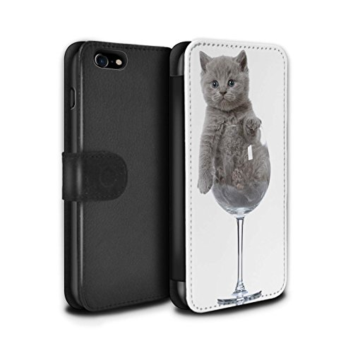 Telefoonhoesje Portemonnee voor Apple iPhone SE 2020 Leuke Kittens Wijn Glas Ontwerp Flip Faux PU Lederen Cover Magnetische Sluiting Card Slots