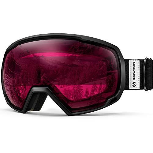 OutdoorMaster Unisex Skibrille für Damen und Herren, Snowboard Brille Schneebrille OTG 100{c0fb974f7d67d3a3e133aaca24a78c5648bd3be6ca726ad3d66c5ccf61e8d1cd} UV-Schutz Skibrille für brillenträger, Anti-Nebel Snowboard Brille Ski Goggles für Jungen