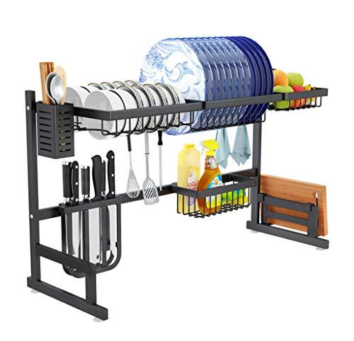 Dish Drying Rack Over Sink-2 Tier ,drain rack,Sink Organize Stand Shelf with Utensil Holder Hooks, kitchen supplies storage rack (knife/fork/bowl/dish/sponge/cutting board rack), black