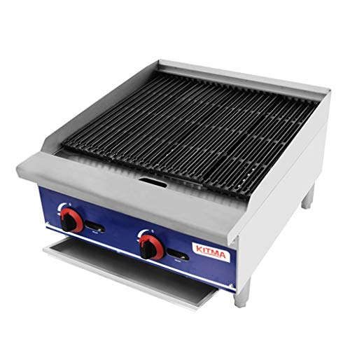 Commercial Countertop Radiant CharBroiler - KITMA 24 Inches Natural Gas Char Broiler with Grill - Restaurant Equipment for Barbecue