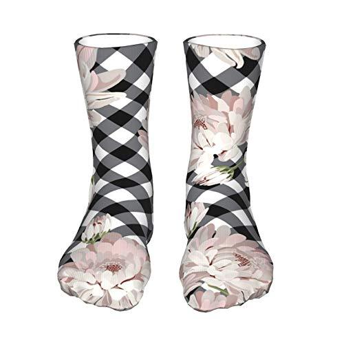 ZVEZVI Blumige Chrysantemen auf schwarzen Müttern Unisex Outdoor Adult Sport Over-the-Calf Lange Röhrenstrümpfe Crew Socken 40cm (15,7in)