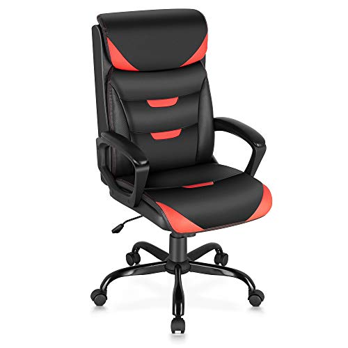 ELABEST Office Chair - Executive Computer Desk Chair with Bonded Leather, Thick Foam Cushion, Lumbar Support, Padded Armrest, Swivel Ergonomic Task Managerial Chair for Office, Gaming