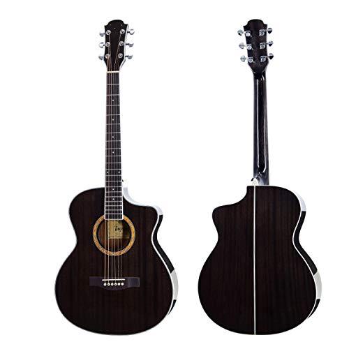 KEPOHK Guitarra acústica de 40 pulgadas, 6 cuerdas, caoba, de alta calidad, negro, azul, de madera, instrumento de cuerda de alto brillo, 40 pulgadas, marrón