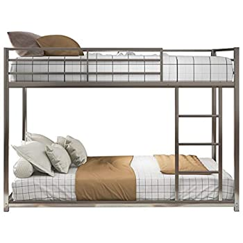 Metal Bunk Bed,Full Over Full Bunk Bed Frame,Heavy Duty Space-Saving Design,Easy Assembly with Safety Guard Rails & Side Ladder for Adults Children Teens  Low Bunk Bed-Silver
