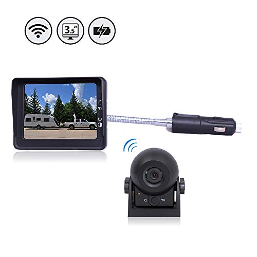 Caméra de Recul Sans Fil,Caméra de Voiture Numérique Caméra Etanche IP68 avec 3.5'' LCD Moniteur Bonne Vision Nocturne pour Remorque, VR, Bus et Camions