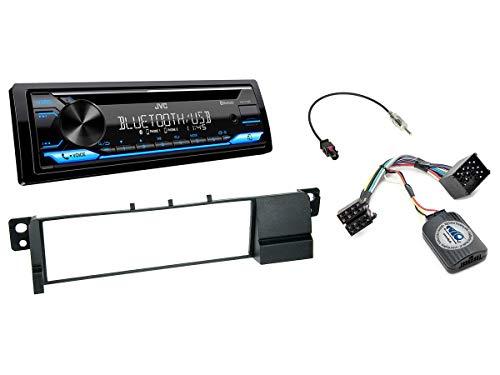 NIQ Autoradio Einbauset geeignet für BMW 3er (E46) Bj. 05/1998-2004 inkl. JVC KD-T716BT & Lenkrad Fernbedienung Adapter in Schwarz