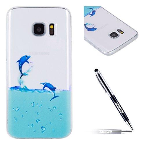 JAWSEU Coque Étui Galaxy S7 Transparent Silicone,Ultra Mince Soft TPU Cristal Clair Housse Coque Mode Belle Lovely Motif Souple Silicone Coque de Protection,#10