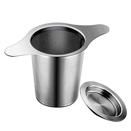 Infusor de Té Filtro de Acero Inoxidable 18/8 con asas dobles colador de malla de hojas sueltas especias para colgar en teteras tazas para infusionar té con tapa (1)