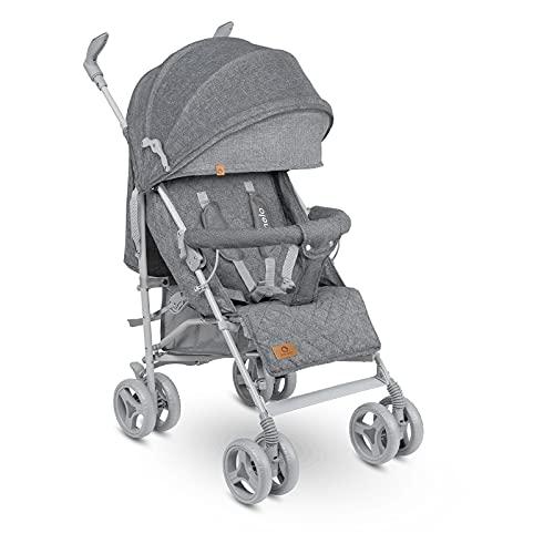 Lionelo Irma Silla de paseo plegable 51 x 80 x 101 cm Diseño ultraligero 7 kg Respaldo ajustable Para niños de hasta 15 kg 6-36M Cinturones de seguridad de 5 puntos Gris y gris oscuro
