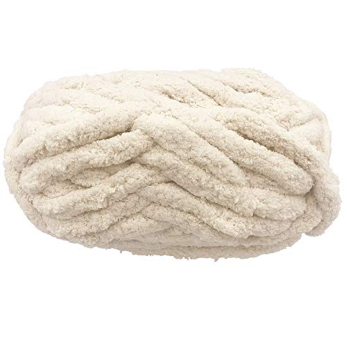 Chunky Chenille Yarn for Blanket, Super Soft Thick Fluffy Jumbo Chunky Chenille-Style Polyester Yarn...
