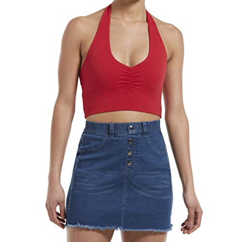 HUE Women's Blackout Cotton Midriff Bandeau Tube, Assorted, Halter Top/red Hot, S