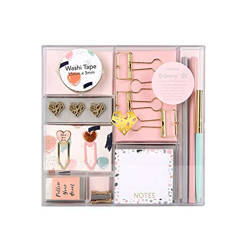 Light Pink Stationery Gift Set with Diamond Push Pins Gold Binder Clips Paper Clips Washi Tape Sticky Notes Pad Pencil Eraser Pencil Sharpener Ballpoint Pen 16 Pieces Office Supplies Set