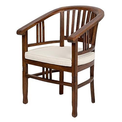 LEBENSwohnART Teak Stuhl Jane Brown-Antique incl. Kissen Stuhl Esszimmerstuhl Armlehnstuhl