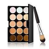 Makeup Brush Kit, 15 Colors Contour Face Cream Makeup Concealer Palette with Powder
