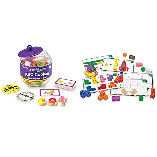 Learning Resources Goodie Games ABC Cookies, 4 Games in 1, Alphabet, Pre-Reading, Phonics, Ages 3+ & Early Math Mathlink Cube Activity Set, Assorted Colors, 115Piece, Ages 4+, Multicolor