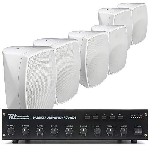 Power Dynamics 100V set met 6 witte opbouw speakers en versterker