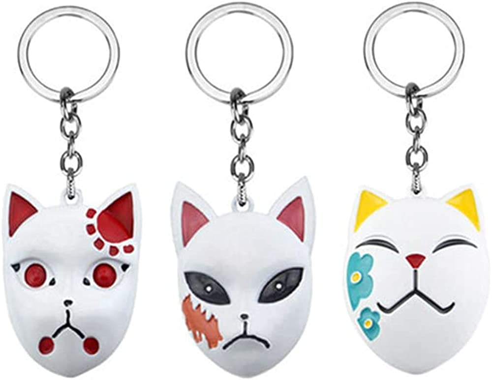 3 Pcs Demon Slayer Mask Keychain,Anime Keyring Cosplay Keyring Pendant Accessories for Kids Teens Fans