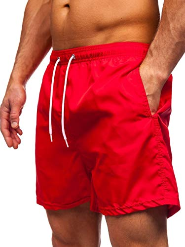 BOLF Herren Badehose Badeshorts Schwimmshorts Boardshorts Sporthose Beachwear Kurze Hose Schnelltrocknend Farbweschel Wassersport Strandshorts Sommer J.Style ST019 Rot M [7G7]