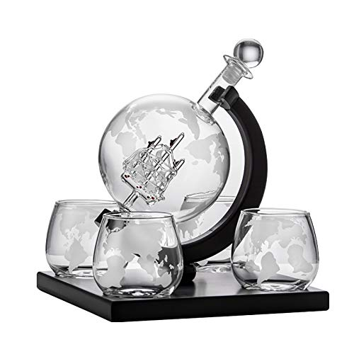 Globe Whisky Decanter Licorera Set con 4 Vasos De Whiskey, Base De Madera Maciza Bandeja, Decantador Dispensador Wiski para Licor Vodka 800ml, Copa Cristal Juego De Baso 400 Ml