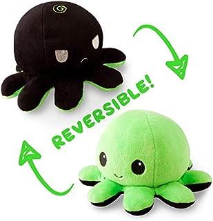 TeeTurtle Reversible Octopus Mini Plush - Stuffed Animal Toy, Black/Green