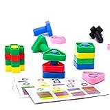 ビルディングブロック キッズ3-12歳64個のビルディングブロックのネジタッチ組み立てられたプラスチックスペル挿入ブロック子供のおもちゃ (Color : Multi-colored, Size : One size)