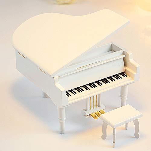 Big Shark Music Box voor dochter gegraveerde unieke geschenken op verjaardag Thanksgiving-dag Nieuwjaar hout gebogen muziek van houten piano Shaped Music Box met kleine kruk