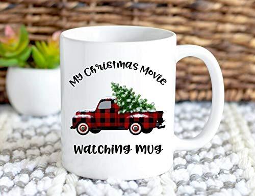 My Christmas Movie Watching Tasse mit Sprüchen, Geschenkidee für Frauen, roter Truck, 325 ml