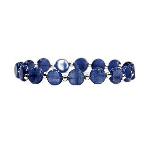 Pietra preziosa Cianite naturale con 925argento Sterling perline braccialetto elastico 17,8cm unisex, base metal, colore: Natural Round Kyanite, cod. Gem-s6