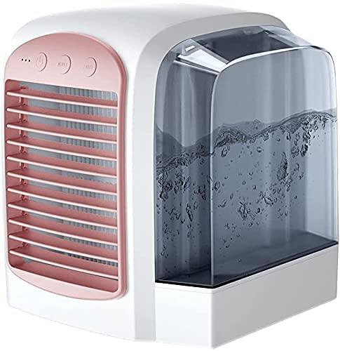 BBCZ Air Refriger - Aria condizionata, Desktop Portatile, Aria condizionata raffreddata ad Acqua USB, Fan Portatile Personali Portatile con Striscia di Serbatoio dell'Acqua da 380 ml - Sistema(Rosa)